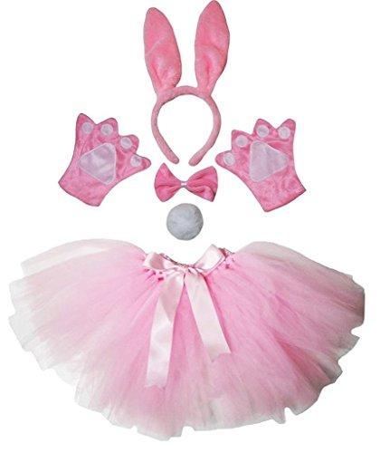 Petitebelle Stirnband Bowtie Schwanz Handschuhe Tutu 5pc Mädchen-Kostüm Einheitsgröße Pink (Pink Bunny Kostüm Kinder)
