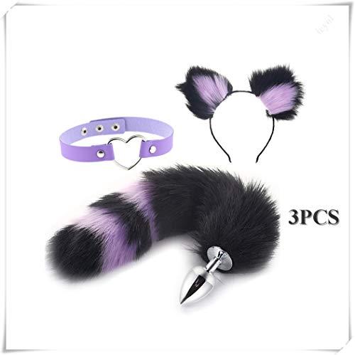 ieyol Women Girl Dress Up Cat Fox Pl-¨´g T-?-ys Fur B-¨¹tt an-?l tail Ears Headband Party Cosplay Choker Costume Accessories Set Black&Purple(M)