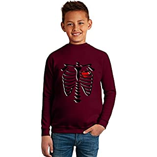 Skeleton Heart Superb Quality Boys Sweater by BENITO CLOTHING - 50% Cotton & 50% Polyester- Set-In Sleeves- Open End Yarn- Unisex for Boys and Girls 8-9 years