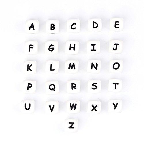 Silikon Buchstaben 12mm 26pcs Kinderkrankheiten Perlen Kit HalsketteCustom Name DIY Bulk Set Baby Kinderkrankheiten Schnuller Clips Beißring Spielzeug DIY Baby Dusche Geschenke (24pack)