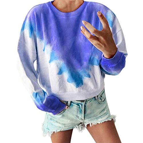 Damen T-Shirt Lässige Bluse Tops Oberteile,2019 Frauen Langarm Rundhals-Pullover mit Farbverlauf Langarm-Sweatshirt Lässig Lang Plus Size Rundhalsblusen Gradient Color top S-5XL -