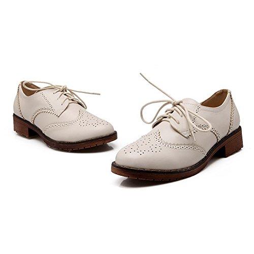 AllhqFashion Damen Niedriger Absatz Weiches Material Schnüren Rund Zehe Pumps Schuhe Cremefarben