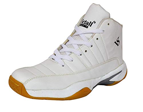 Riyaan White Basketball Shoes for Men Boys Women Girls Junior PU Material Non Marking Sole Outdoor Indoor Playing - Best in Running Walking Sports Jogging