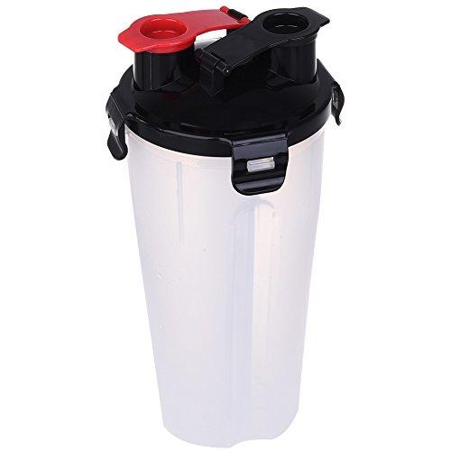 petacc dual-chamber Pet Trinken Snack Flasche Multifunktionale Pet Outdoor Spender Wasser Cup tragbar Pet Dual Gemeines Hydration Flasche mit Faltbare Schüssel, geeignet für Außen, weiß (Glas-hund-wasser-flasche)