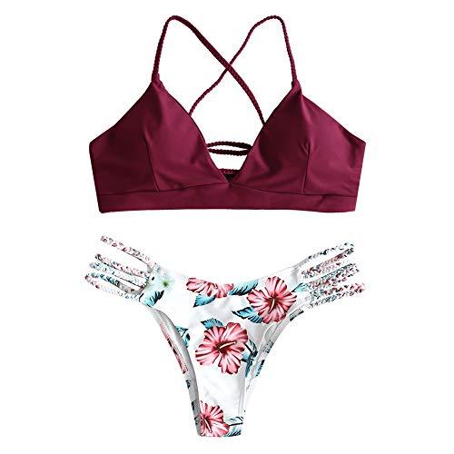 ZAFUL Damen Floral Leaf Lace Up Geflochtener Floral Bikini Set Zweiteiliger Badeanzug (S, ROT Wein)