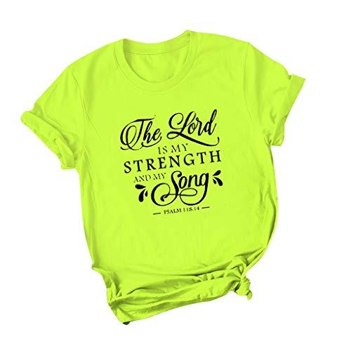 PiabigkaDonna Confortevole Traspirante Manica Corta Girocollo Sciolto T-Shirt Lovers Grandi Dimensioni Casual Magliette con Tema Stampa A Proposito di The Lord is My Strength And My Songs