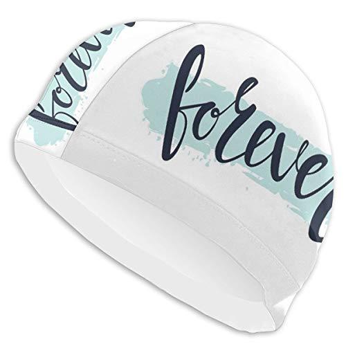 GUUi Swimming Cap Elastic Swimming Hat Diving Caps,Forever Calligraphic Inscription On Pale Blue Modern Brush Stroke Artsy,for Men Women Youths (Care Bears Forever Friends)