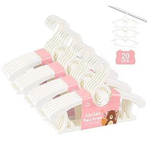 Anstore 20 Stück Mitwachsende Kinderkleiderbügel Platzsparend mit Stapelbaren Bärchen-Haken Rutschfeste Kleiderbügel für…