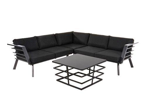 Lounge Gartenmöbel Set aus Aluminium in schwarz. Tisch und Bank inkl. Sitzauflagen, wetterfest. Ideal für Garten und Terrasse.