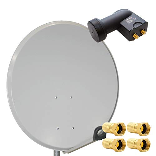 PremiumX HD Digital Sat Anlage 60cm Antenne Hellgrau + Twin LNB 2 Teilnehmer + 4 F-Stecker - FullHD - 4K Ultra HD