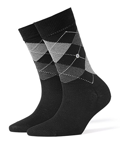 Burlington Damen Covent Garden Baumwolle Argyle Muster 1 Paar Modische Socken, Blickdicht, schwarz (Black 3000), 36/41 (One Size) - Argyle-socken Frauen