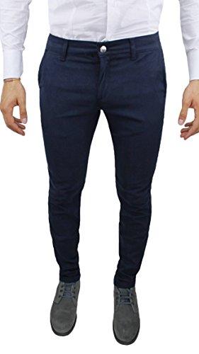 Pantaloni uomo sartoriali slim fit casual eleganti invernali (52, blu)