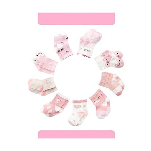 Cotton Coming Rosa Algodón Niñas Calcetines Bebé,9 Pares Lindo adj. Bebé Calcetines Niña 2