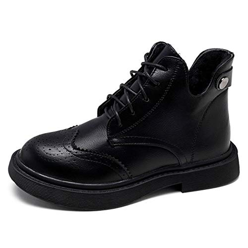 RegbKing Frauen Martin Stiefel,Ankle Boots Biker Stiefel Lace Up Damen Winter Bullock Student Schuh,Black1-37 -