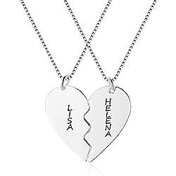 XiXi Collier Prenom Personnalisé Collier d Amitie pour 2 Filles Amour Coeur Couple Puzzle Pendentif avec Nom Ami Collier Cadeau Gravé pour Femme