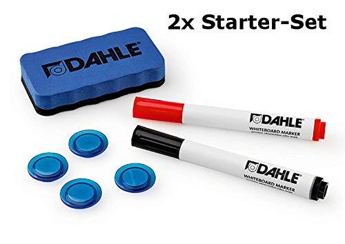 Dahle 95140-13540 Whiteboard Starterset (2 Boardmarker rot/schwarz, 4 Magnete, 1 magnetischer Wischer) (Starter-Set (Doppelpack))