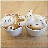 Wallario Acrylglasbild Süße Milchschaum Katzen auf Kaffee - 50 x 50 cm in Premium-Qualität: Brillante Farben, freischwebende Optik