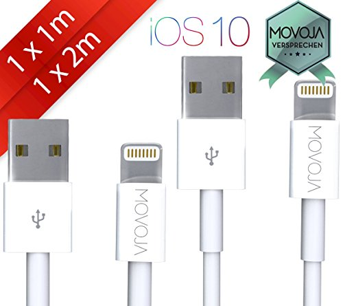 Preisvergleich Produktbild 1 x 1 Meter + 1 x 2 Meter Lightning Kabel MOVOJA® | Lightning zu USB Kabel (2 Stück) | Apple Ladekabel [Lebenslange Garantie] für iPhone 7 / 6s / 6 / iPhone 6 Plus / 6s Plus / 7 Plus, iPhone 5 / 5s / SE, iPad Air 2 / Mini 3 / iPod 5 / Nano 7 - MOVOJA®