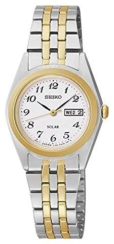 Ladies/Womens Two tone Seiko Solar Watch on Bracelet with Day