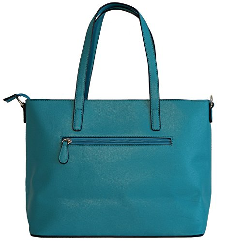 Borsa donna David Jones in ecopelle modello shopper con decorazione traforata Turchese