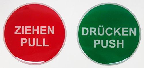 Aufkleber 3D Set 900019 Hinweisschilder Ziehen Pull rot / Drücken Push grün - insg. 2 Aufkleber exzellenter Wetterschutz keine billigen Folienaufkleber (Drucken Aufkleber)