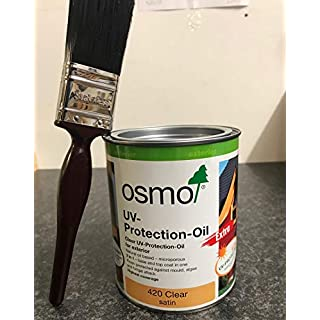 Osmo UV Protection Oil Extra 420 Clear 0.75L with FREE Draper Brush 38mm