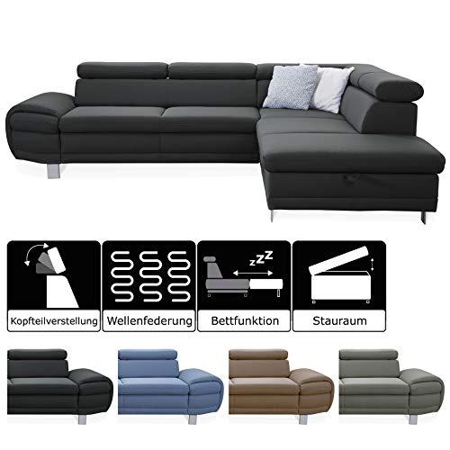 CAVADORE Ecksofa Marool mit Bett und Stauraum / Graues Schlafsofa im modernen Design / Inkl. verstellbaren Kopfteilen / 283 x 79 x 229 / Dunkelgrau