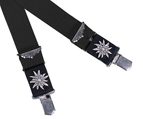 Trachtenhosenträger Herren - Hosenträger Trachten für Lederhose mit Edelweiß - Schwarz