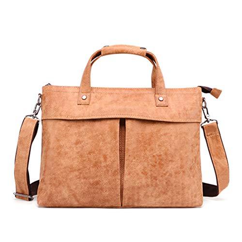 WHWH Leder Herren Aktentasche Casual Business One-Shoulder Slung Handtasche Aktentasche mit großer Kapazität Computer-Tasche Outdoor-Aufbewahrungstasche,Brown-OneSize -