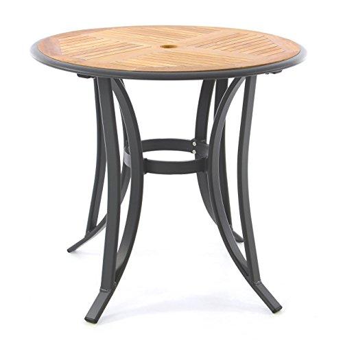 Nexos Trading Gartentisch Teak Tisch Rund Aluminiumgestell Teak
