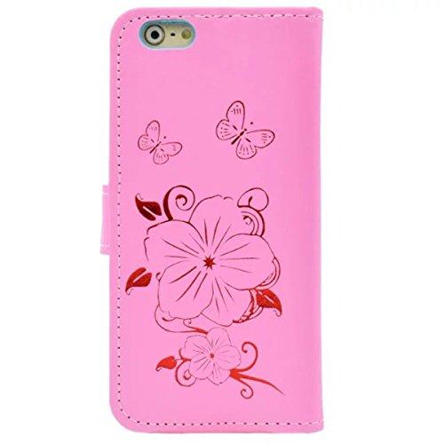iPhone 6S Plus Coque, iPhone 6 Plus Coque, Lifeturt [ Rose ] Motif Pure Couleur Housse en Cuir Case à Avec La Fonction Stand Coque de Intérieure Protection Souple Coque Portefeuille TPU Silicone Case  E2-Rose