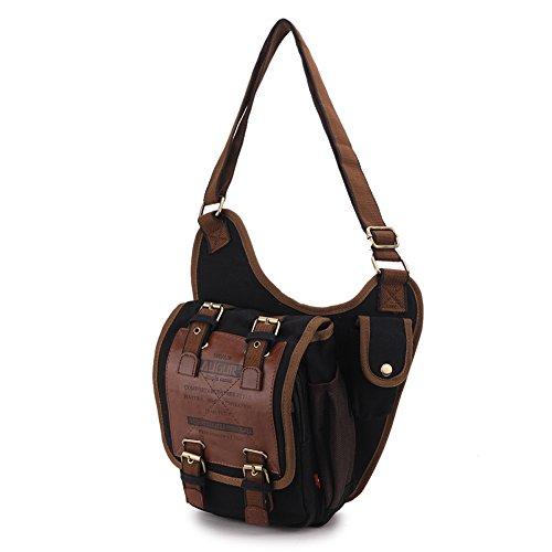 TFCFL Herren Vintage Segeltuch PU Leder Militärdienstprogramm Schulter Tasche Messenger Tasche (Kaffee) Schwarz
