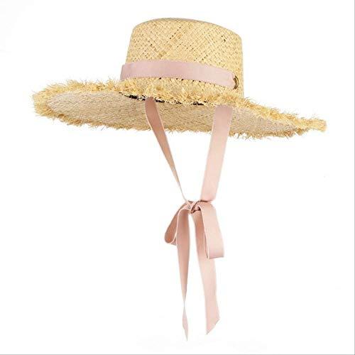 YI-SHAN Sonnenhut für Frauen, handgemachte Webart Raffia Strohhut für Frauen breiter Krempe Floppy Sonnenhut Sommer Hüte Lady Beach Cap mit Kinnriemen modischenrosa (Mittlere Hut Krempe Ribbon)