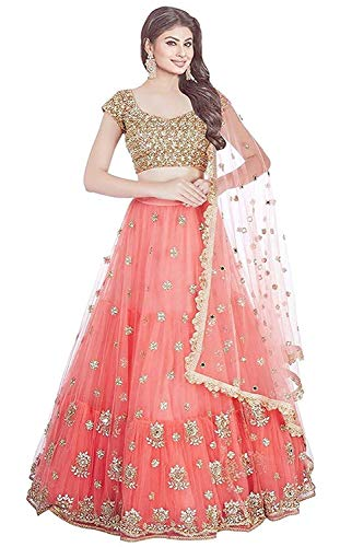 Fast Fashions Women's Embroidered Orange Semi Stitched Lehenga Choli With Blouse Piece (Free_Size)