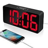 Reacher 9 Zoll große LED Digital Wecker mit USB-Anschluss für Handy-Ladegerät, Touch-Activated Snooze und Dimmer, 12/24 Stunden, Netzbetrieben(Schwarz)