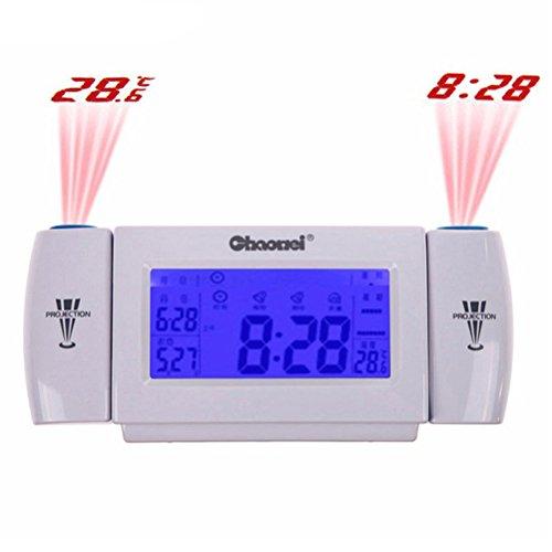 LEORX Calidad Prima giratoria proyección reloj de alarma con Snooze fecha temperatura Pantalla LED retroiluminada