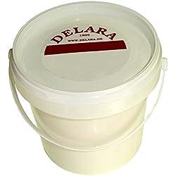 DELARA Lederbalsam mit hochwertigem Bienenwachs, Lederpflege, die Das Leder weich, geschmeidig und atmungsaktiv Macht, 500 ml Eimer, farblos, Made in Germany