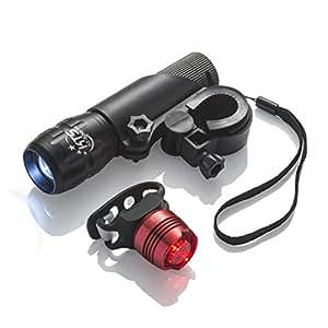 Set di luci per bici, ricaricabili, per la sicurezza su strada grazie ai più luminosi accessori per bici di KT-Sports, fanale anteriore e posteriore, per mountain bike, MTB e biciclette da corsa