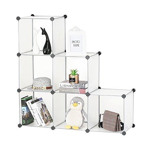 BASTUO Aufbewahrungswürfel Schrank DIY Bücherregal Regal Körbe Modular Würfel Schrank für Spielzeug Bücher Kleidung weiß mit Türen, 6 Cubes (Schubladen Kunststoff-speicher-cubes)