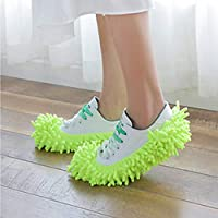 Kitechildhood Dust Duster Mop Slippers Shoes Cover Soft Washable Reusable Shoe Cover Green
