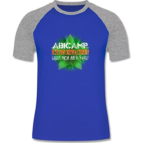 Abi & Abschluss - ABICAMP - ich bin erwachsen lasst mich hier raus! - zweifarbiges Baseballshirt für Männer Royalblau/Grau meliert