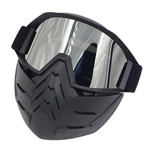 Cuzaekii Motorrad Rennen Brille Motocross Maske Skilaufen Snowboarden Schneemobil Gläser Motorcycle Goggles Skiing Snowboarding Snowmobile Glasses (Silber Linse) (Schneemobil-rennen)