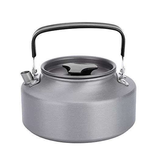 Dilwe Tragbare 1.1L Edelstahl Camping Teekanne Kaffee Teekanne Wasserkocher für Camping Wandern Picknick (Schwarz)
