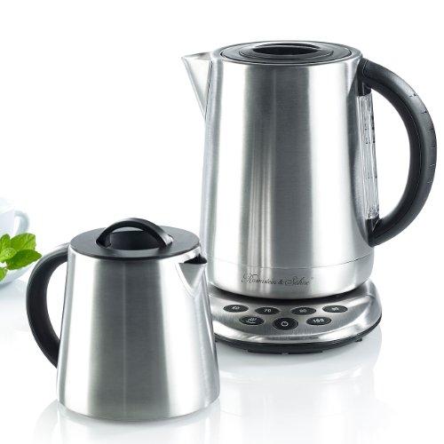 Rosenstein & Söhne Wasserkocher-Teebereiter: 2in1-Edelstahl-Wasserkocher WSK-250.set & Teekanne (2in1-Teebereiter & Wasserkocher)