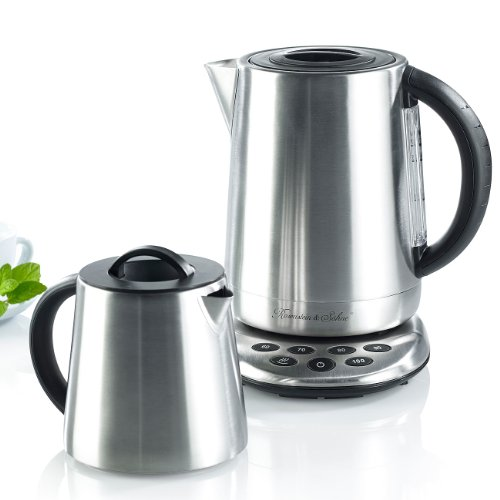 Rosenstein & Söhne Tee Maschine: 2in1-Edelstahl-Wasserkocher WSK-250.set & Teekanne (Wasserkocher Teekocher)