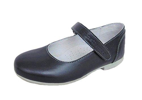 Ennellemoo -Mädchen-Kinder-Ballerinas-Halbschuhe-Pumps- Echt Leder-Schuhe mit Klettverschluss-für Fest-Party-Kommunion-Konfirmation. (35, Blau/Dunkelblau)