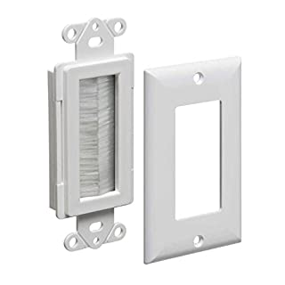 Arlington Industries CED135WP-1 Cable Entry Device with Brush-Style Opening and Wall Plate, 1-Gang, White, 1-Pack
