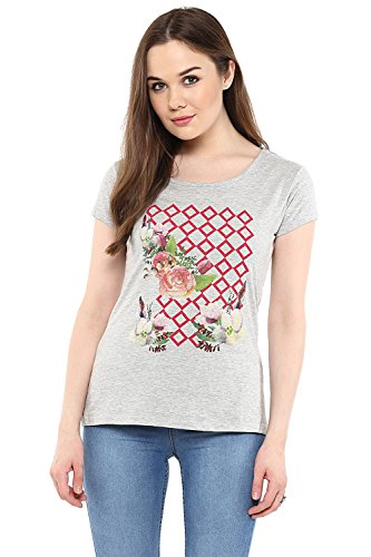 Honey by Pantaloons Women's Round Neck T-shirt _Grey Melange_M  available at amazon for Rs.284