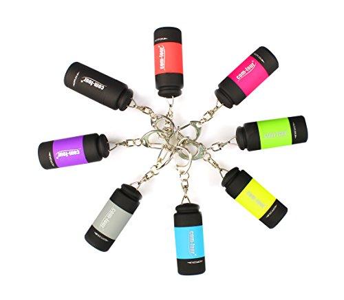 Com-four® 8x usb mini led torcia ricaricabile impermeabile portachiavi (08 pezzi - tutti i colori)