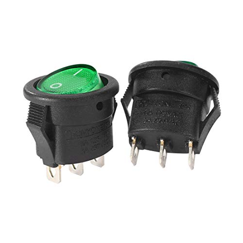 125v Marine (ZCHXD 5Pcs 3-Pin SPST 2 Position Green Lamp Round Rocker Toggle Switch LED Light On/Off For Boat Marine AC 250V/3A 125V/6A)